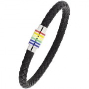 Punk Rainbow High Quality Braided 100 Genuine Leather 316L Stainless Steel Wrist Band Bracelet Men