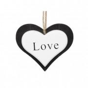 Akasztós dísz szív fa 11.5x10cm fekete-fehér (2 db/szett)
