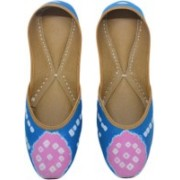 The Juti Art Frozen In Bandhani Jutis For Women(Blue, Pink)