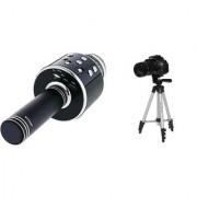 WS 858 Karokke Microphone with in built speaker and 3110 Camera Tripod CEG_418