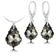 Set cercei + pandantiv argint cristal Swarovski baroc silver night