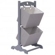 vidaXL Етажерка с 2 кошници, тъмносива, 35x35x72 см, дърво