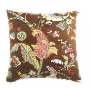"""24"""" x 24"""" wilmington chocolate victorian style leaf and floral pattern throw pillow with a feather/down insert and zippered removable cover"""