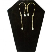 Trendy Golden Ear Cuffs Earring With White Stone and Golden Plated