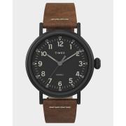 Timex Standard 40Mm Leather Watch Black Brown