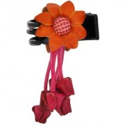 Maayra Women Girls Hair Clutcher Claw Hanging Flower in Orange Pink for Partywear Pack of 1