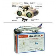 combo of Remote Aeroplane 2 Channel Radio Control (Running Not Flying) with binocular toy