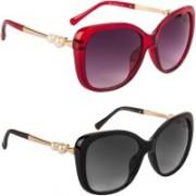 EyeSun Wayfarer, Butterfly, Over-sized Sunglasses(Red, Black)