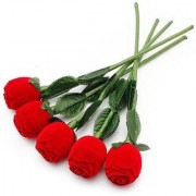 Priyankish Rose Red Artificial Stems - Pack of 5