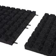 Černá gumová dopadová dlaždice (V40/R15) FLOMA - délka 50 cm, šířka 50 cm a výška 4 cm