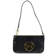 Michael Kors Fulton Black Embossed Leather Wristlet
