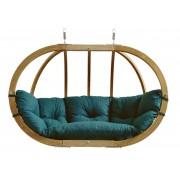 Amazonas Globo Chair Royal - 2 Persoons - Groene Kussens + Luxe Houten Standaard
