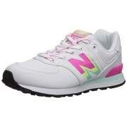 New Balance Girls 574v1 Lace-Up Sneaker, White/Peony, 2 W W US Toddler (1-4 Years)