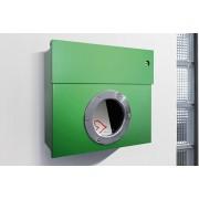 Radius Design Letterman 1 Briefkasten grün (RAL 6018) mit Klingel in blau ohne Pfosten