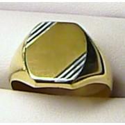 Obrovský mohutný pánský zlatý prsten - dvojí zlato 585/5,37gr 1410241 vel. 73