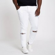River Island Mens Big and Tall White Eddy ripped skinny jeans (Size 36 extra extra long)