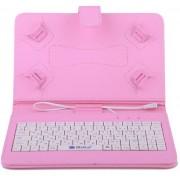 Husa Tableta 10 Inch Cu Tastatura Micro Usb Model X , Roz Deschis