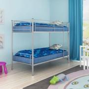 vidaXL Детско двуетажно легло, 200x90 см, метално, сиво