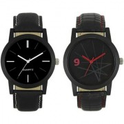 KDSMen New Stylish Black and white and Met Black Leather Strap WatchFX-MW-003-007