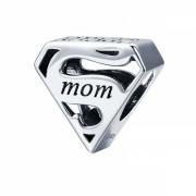 Talisman charm argint 925 KRASSUS Super Mom, pentru bratara sau pandantiv lant, model mama