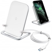 BASEUS Wireless 15W Fast Charger Pad Desktop Phone Holder Stand for iPhone Samsung Huawei Xiaomi Etc.[CE Certificated] - White