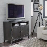 HOMESTYLES 5th Avenue 43 in. Grey Sable Wood TV Stand Fits TVs Up to 50 in. with Storage Doors