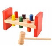 Joc Educativ din Lemn pentru Copii, Multicolor cu Ciocan, Dimensiuni 17.7x7x10 cm