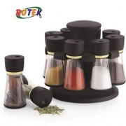 Rotek Brown Revolving Spice Jar Rack Masala Box Polycarbonate Spice Container Set of 8