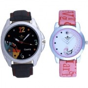 Black Dial Goal Achived Art And Pink Peacock Couple Casual SCK Analogue Watch By Google Hub