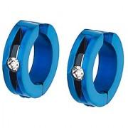 Gadgetsden 316L Steel Non Piercing Inlay Blue Cz Clip-On Unisex Earrings 2Pcs