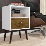 Criado Mudo Retro 2014 - Branco / Madeira - Móveis Bechara