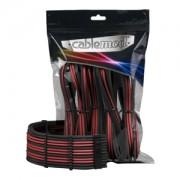Set cabluri prelungitoare CableMod PRO ModMesh, cleme incluse, Black/Blood Red, CM-PCAB-BKIT-NKKBR-3PK-R