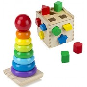 Bundle Includes 2 Items - Melissa & Doug Shape Sorting Cube - Classic Wooden Toy With 12 Shapes and Melissa & Doug Rainbow Stacker Wooden Ring Educational Toy