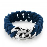 The Rubz Natural Silicone 15mm Unisex Bracelet Navy Blue & Silver