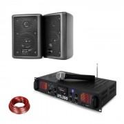 Skytec SPL 300 VHF, комплект PA усилвател и 2 тонколони, кабел за тонколона, черен (PL-10870-29672)