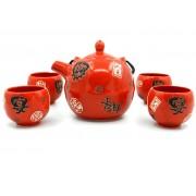 Set ceai rosu cu motive chinezesti negre (cod B57-2)
