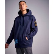 Calvin Klein Jeans Multi Badges Hoodie 402 Night Sky Blå