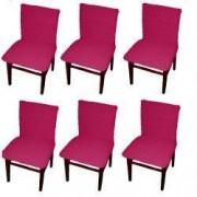 Set 6 huse elastice bicolore/gofrate cu bumbac fara volan pentru scaun TRADE STORE DELIVERY Bumbac si Poliester Fuchsia