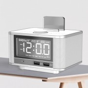 M7 Bluetooth Speaker Digital Alarm Clock with Dual Port USB LED Display - White / UK Plug