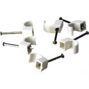 Cleme clips fixare cablu 7-12 mm, cu cui, 250 bucati, culoare alba