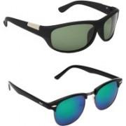Zyaden Wrap-around, Clubmaster Sunglasses(Green, Multicolor)