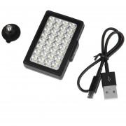 EY Luz De Vídeo 32 LED Integrado Luz De Relleno Para Las Cámaras Digitales Del Teléfono Móvil Negro.