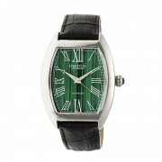 Heritor Automatic Baron Marbled-Dial Leather-Band Watch - Silver/Green HERHR6003