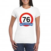 Bellatio Decorations Verkeersbord 76 jaar t-shirt wit dames