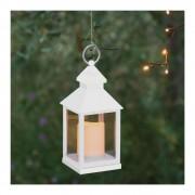Luci Da Esterno Lanterna bianca con candela LED bianco caldo, 105 x 105 x h. 240 mm Plastica Bianca