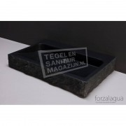 Forzalaqua Palermo Wastafel 80 cm Basalt Gekapt 80,5x51,5x9 cm 1 wasbak 1 kraangat