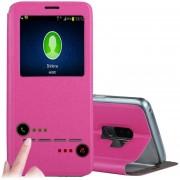 Para Samsung Galaxy S9 + Frosted Con Textura De Funda De Cuero Flip Horizontal Llamada Pantalla Id Y Slideunlock Slip Y Titular (rosa Roja)