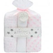 Babytown gift set 3-pack hydrofiel luiers 76x76 cm stars - roze/wit