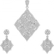92.5 Sterling Silver Cubic Zirconia Studded Criss-Crossed Kite Pendant Earrings Set for Women and Girls