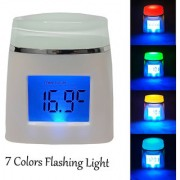 LCD Digital Multi-function Table Desk Alarm Clock With Timer Calander Temprature and Non-stop 7 Colors Flashing Light